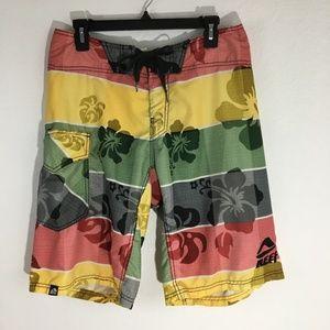 Reef Board Shorts Swim Red Green Yellow Gray